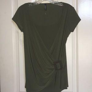 JASONMAXWELL green short sleeve blouse.